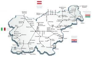Železniška proga v Sloveniji - zemljvid