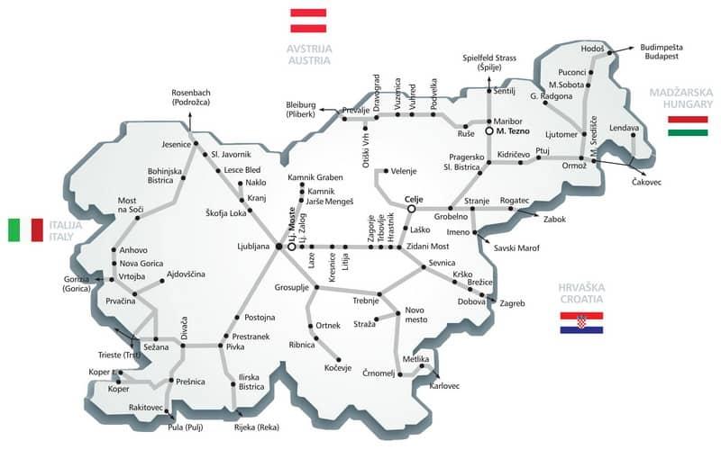 Železniška proga v Sloveniji - zemljevid
